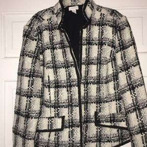 Chico's black and white tweed blazer size 2